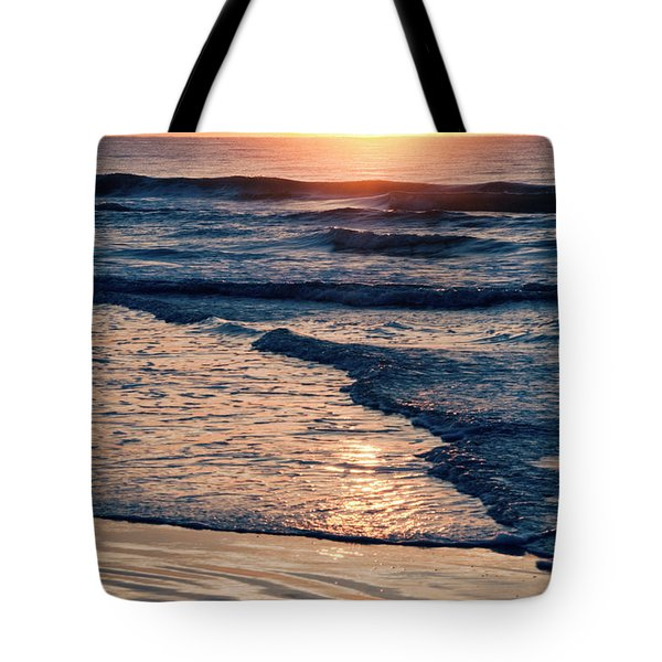 Sun Rising Over The Beach Tote Bag