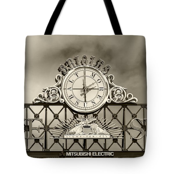 The Sun Orioles Clock - Sepia Tote Bag
