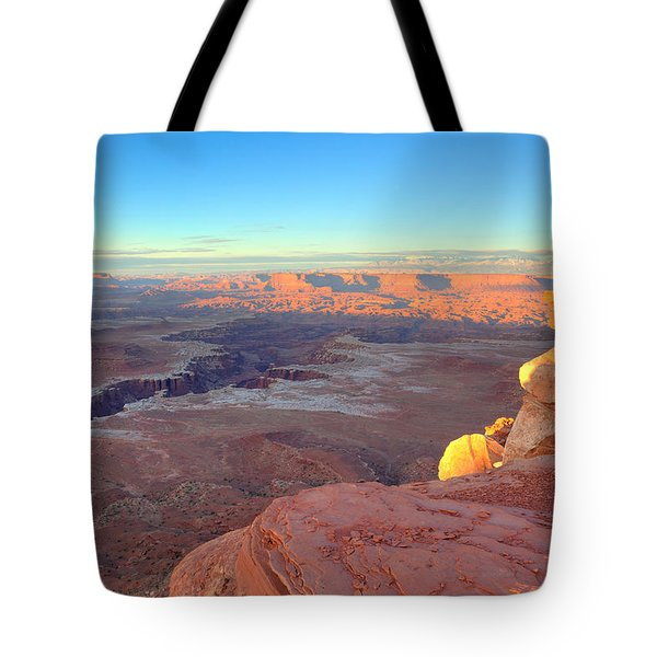 The Sun Sets On Canyonlands National Park In Utah Tote Bag by Alan Vance Ley