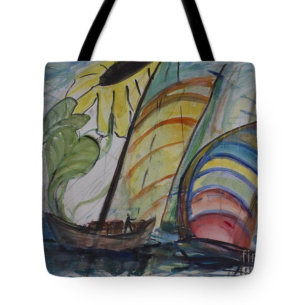 Tote Bag featuring the painting The Sunflower Journey by Avonelle Kelsey