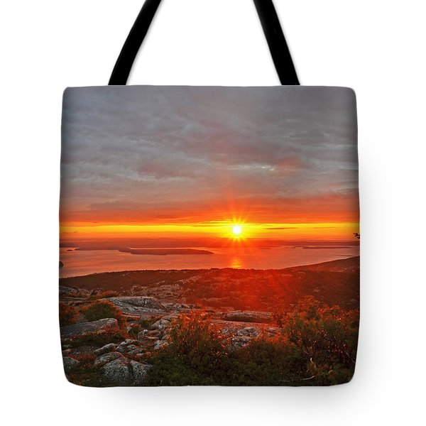 The Sunrise From Cadillac Mountain In Acadia National Park Tote Bag
