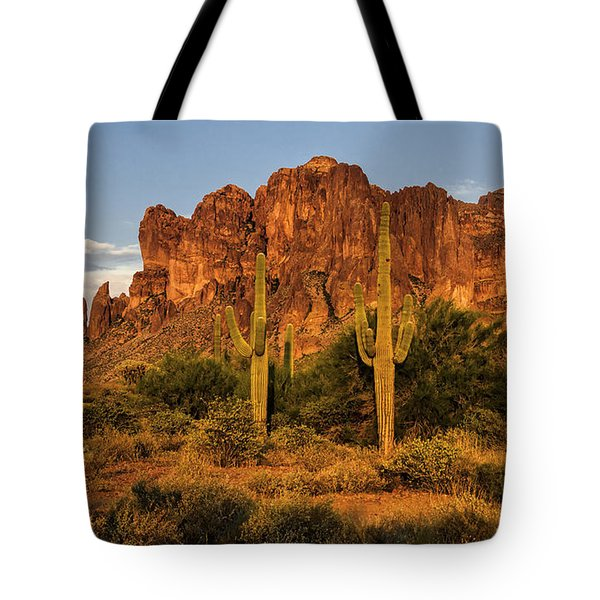 The Superstitions At Sunset  Tote Bag by Saija  Lehtonen