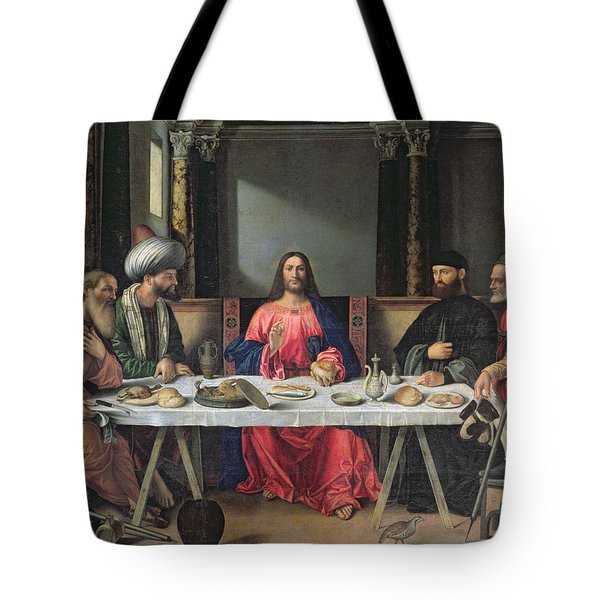 The Supper At Emmaus Tote Bag by Vittore Carpaccio