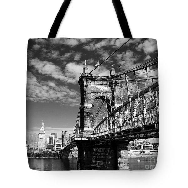 The Suspension Bridge Bw Tote Bag