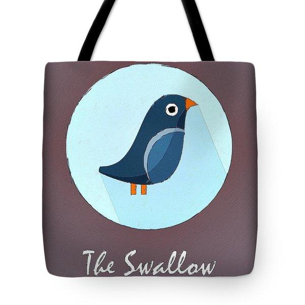 The Swallow Cute Portrait Tote Bag by Florian Rodarte
