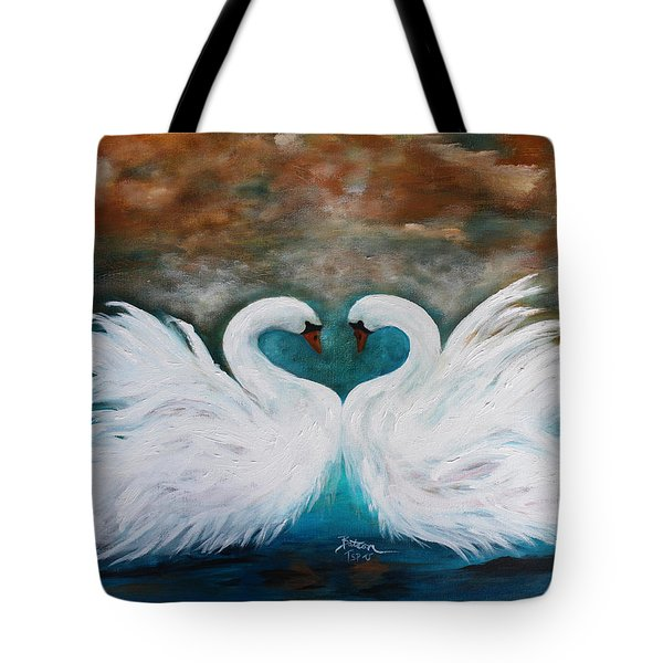 Tote Bag featuring the painting The Swans Of Wolf Branch Manor by Barbie Batson
