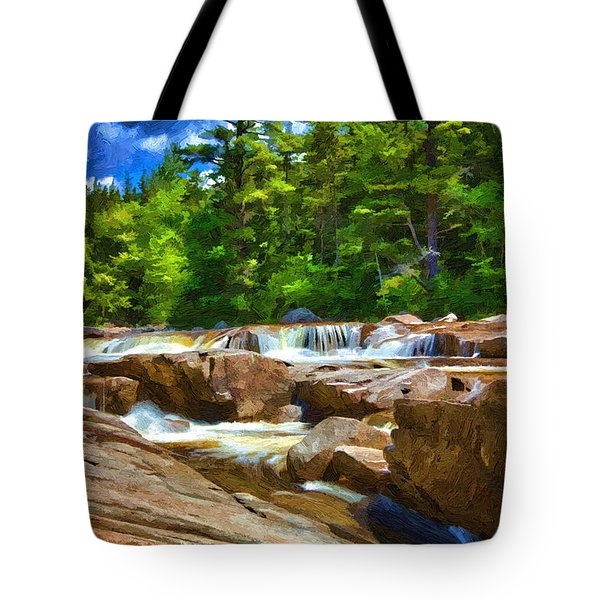 The Swift River Beside The Kancamagus Scenic Byway In New Hampshire Tote Bag by John Haldane