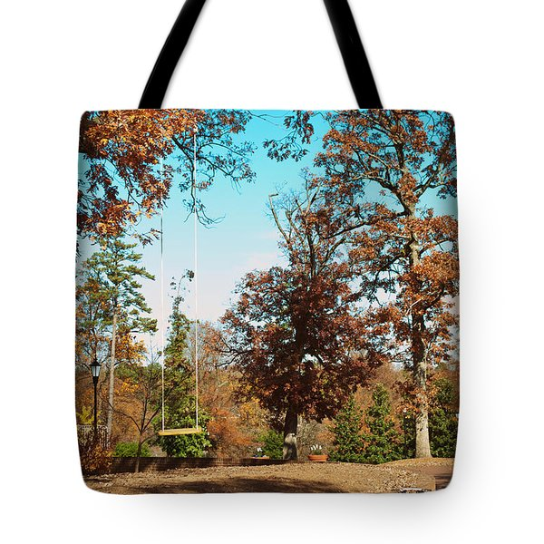The Swing With Red Bicycle - Davidson College Tote Bag