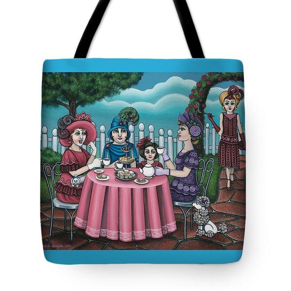 The Tea Party Tote Bag by Victoria De Almeida