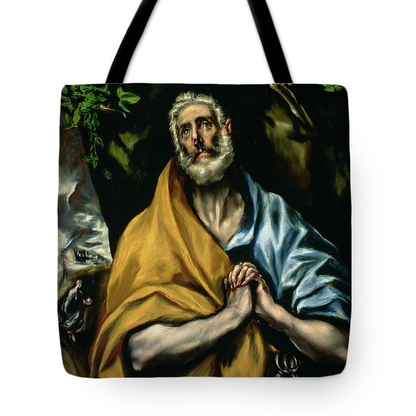 The Tears Of St Peter Tote Bag by El Greco Domenico Theotocopuli