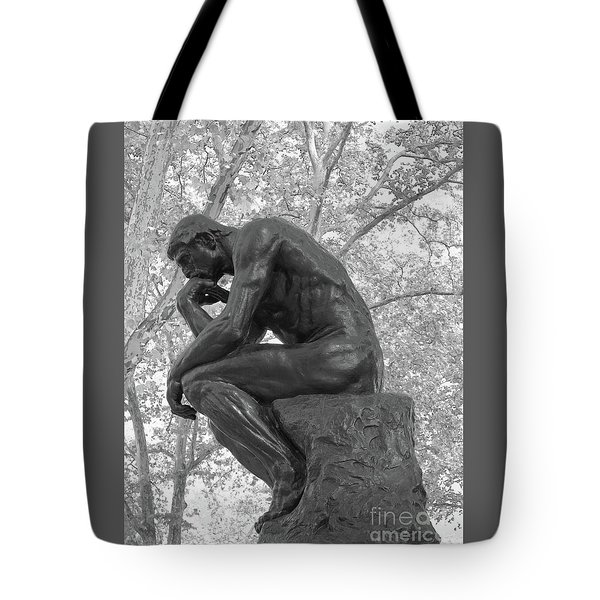 The Thinker - Philadelphia Bw Tote Bag by Ann Horn