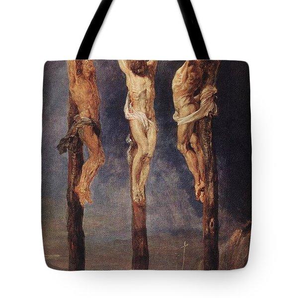 The Three Crosses Tote Bag by Peter Paul Rubens