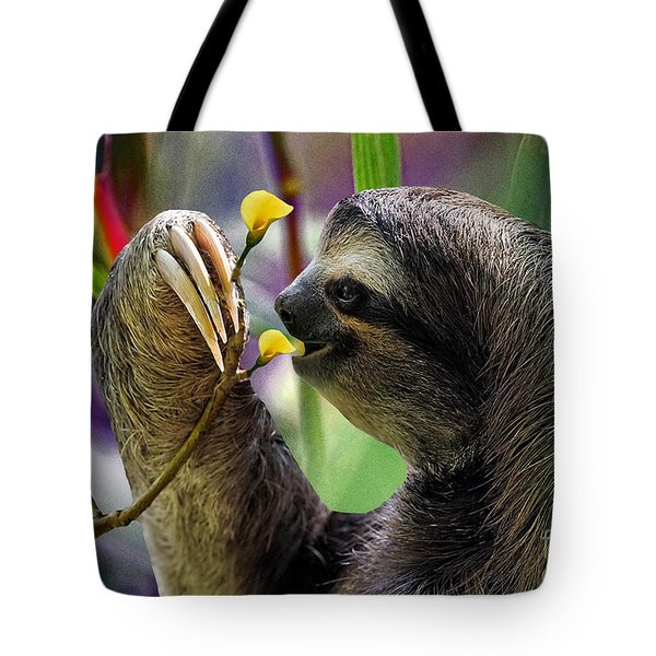 The Three-toed Sloth Tote Bag by Gary Keesler