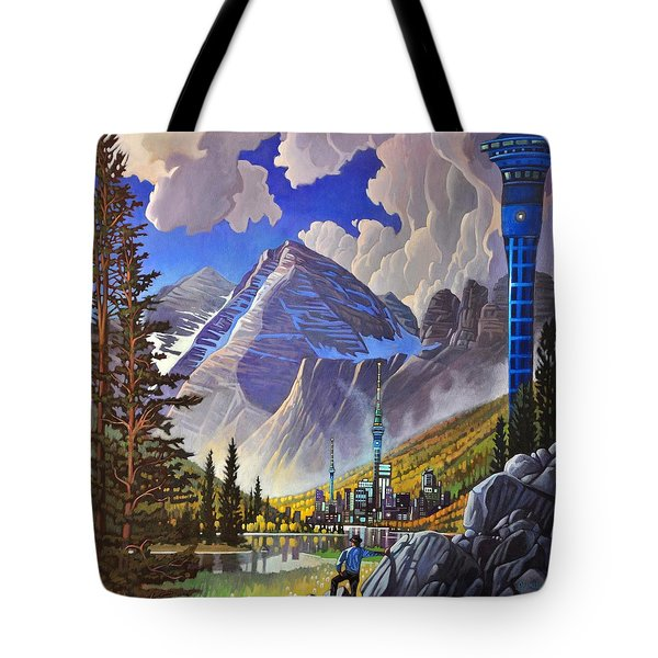 Tote Bag featuring the painting The Three Towers by Art James West