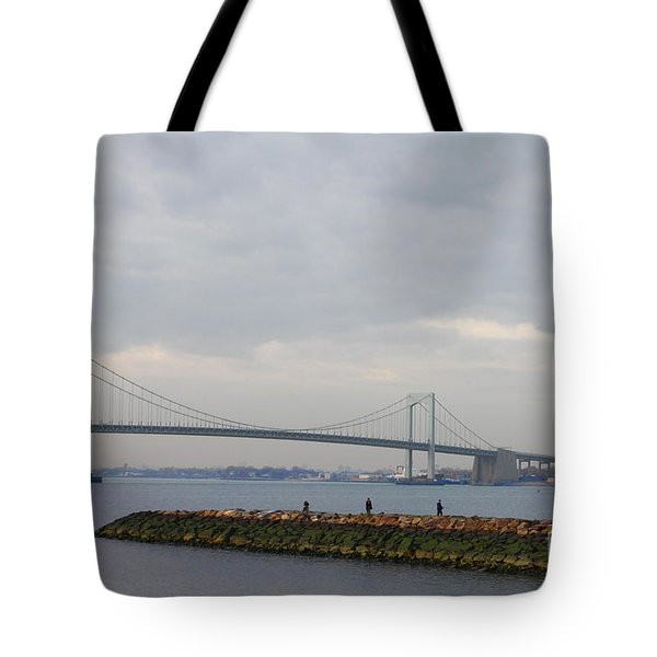 Tote Bag featuring the photograph The Throgs Neck Bridge by John Telfer