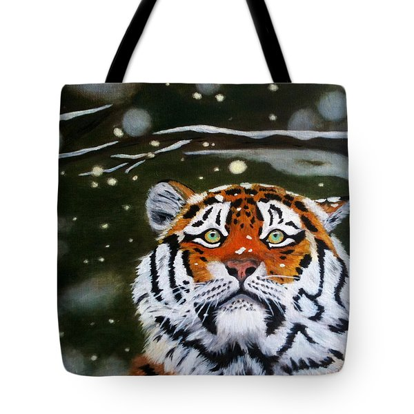The Tiger In Winter Tote Bag