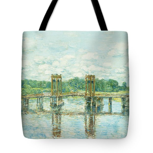 The Toll Bridge New Hampshire Tote Bag by Childe Hassam