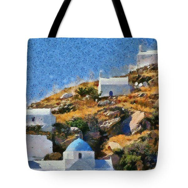 The Top Of Ios Town Tote Bag