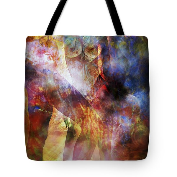 Tote Bag featuring the mixed media The Touch by Ally  White