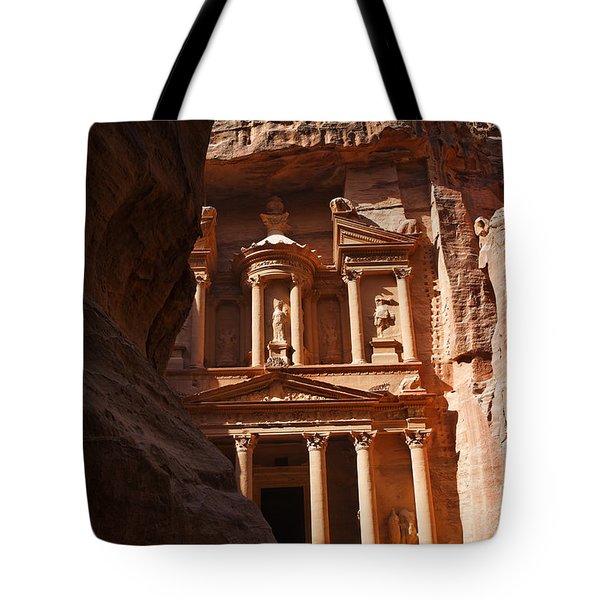 The Treasury Seen From From The Siq Petra Jordan Tote Bag by Robert Preston