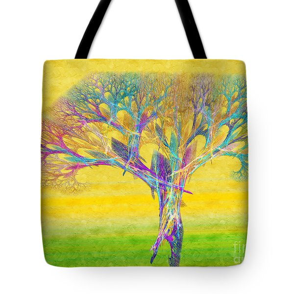 The Tree In Spring At Midday - Painterly - Abstract - Fractal Art Tote Bag by Andee Design