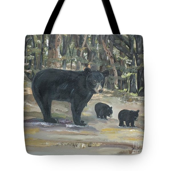 Cubs - Bears - Goldilocks And The Three Bears Tote Bag by Jan Dappen