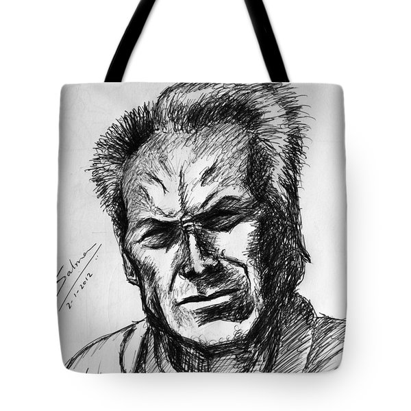 Tote Bag featuring the painting Clint Eastwood by Salman Ravish