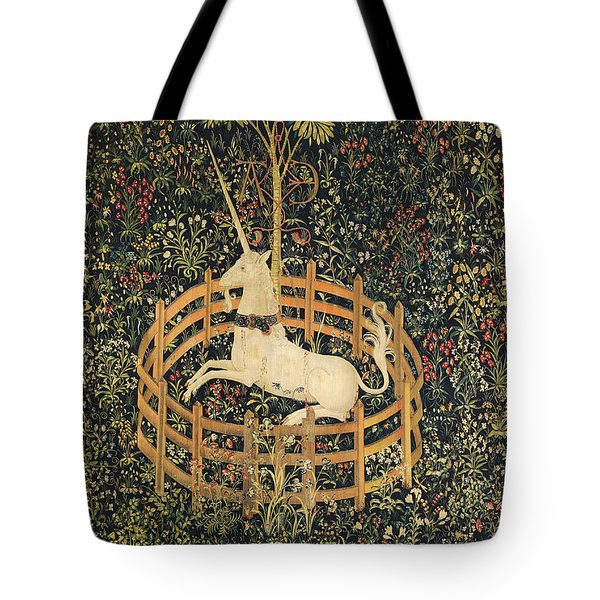 Tote Bag featuring the tapestry - textile The Unicorn In Captivity by Unknown
