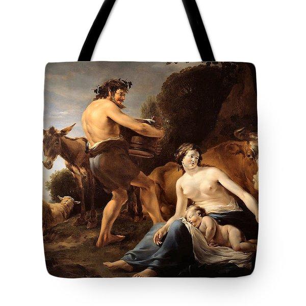 The Upbringing Of Zeus Tote Bag by Nicolaes Pietersz Berchem