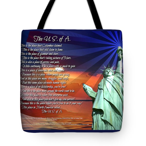 The Usa Statue Of Liberty Poetry Art Poster Tote Bag by Stanley Mathis