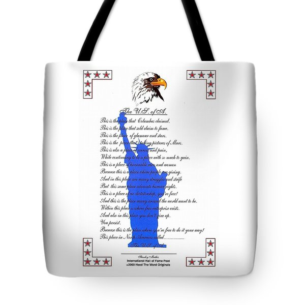 The Usa Statue Of Liberty Poetic Art Poster Tote Bag by Stanley Mathis