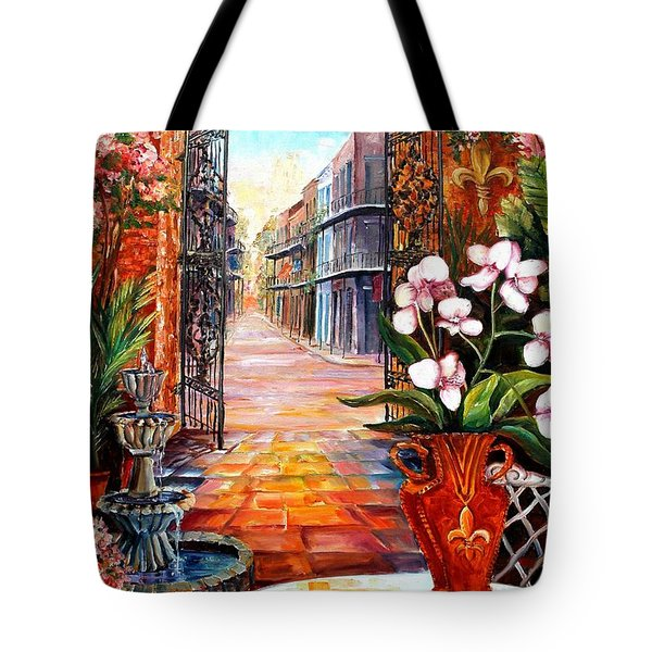 The View From A Courtyard Tote Bag by Diane Millsap