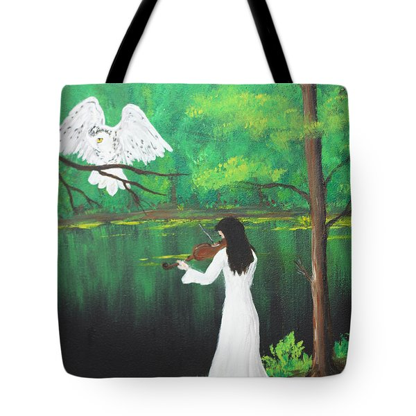 The Violinist By The River   Tote Bag