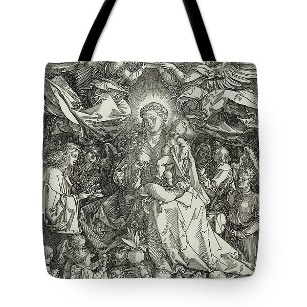 The Virgin And Child Surrounded By Angels Tote Bag by Albrecht Durer or Duerer