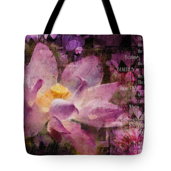 Tote Bag featuring the digital art Those Virgin Lilies - Moore Quote  by Nola Lee Kelsey