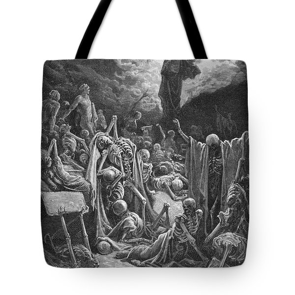The Vision Of The Valley Of Dry Bones Tote Bag by Gustave Dore
