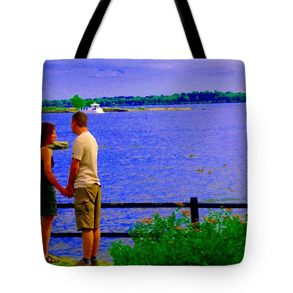 The Vow Lovers Forever By The Lake Summer Romance St Lawrence Shoreline Scenes Carole Spandau Art Tote Bag by Carole Spandau