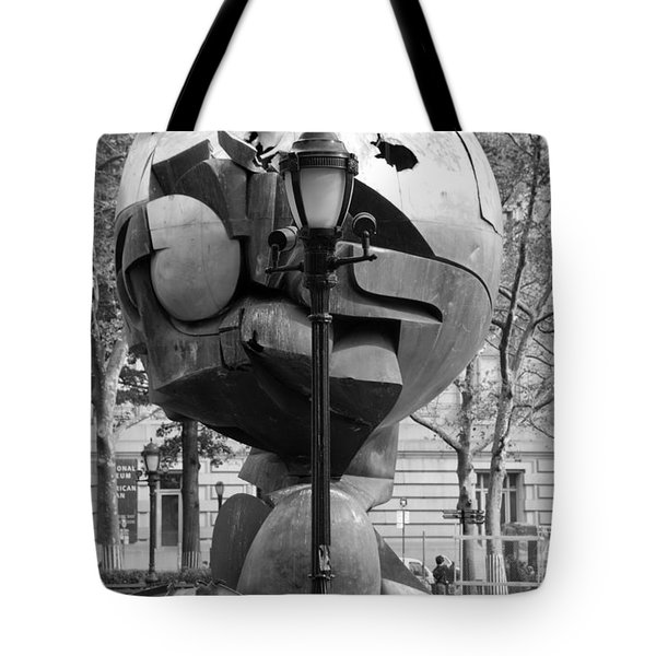 The W T C Plaza Fountain Sphere In Black And White Tote Bag