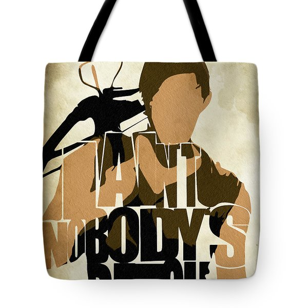 The Walking Dead Inspired Daryl Dixon Typographic Artwork Tote Bag by Ayse Deniz