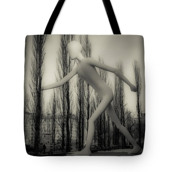 The Walking Man - Bw Tote Bag by Hannes Cmarits