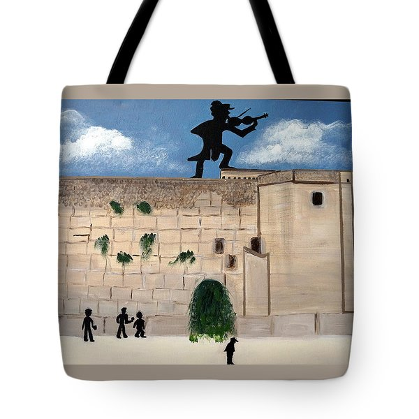 Tote Bag featuring the painting The  Western Wall And Fiddler On The Roof by Nora Shepley