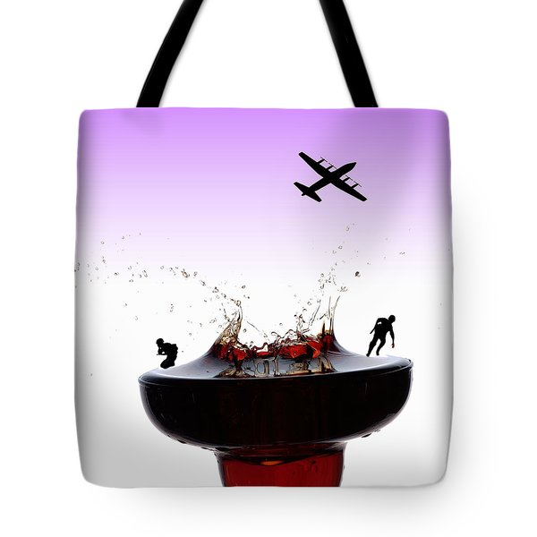 The War On A Cocktail Cup Little People On Food Tote Bag by Paul Ge