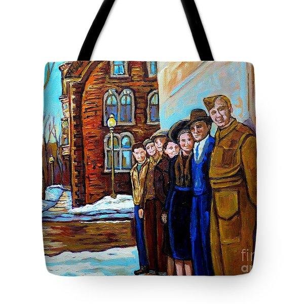 The War Years 1942 Montreal St Mathieu And De Maisonneuve Street Scene Canadian Art Carole Spandau Tote Bag