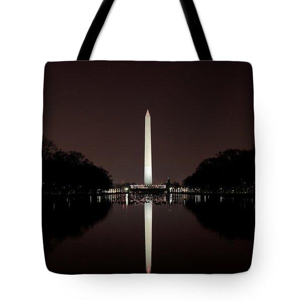 The Washington Monument - Reflections At Night Tote Bag