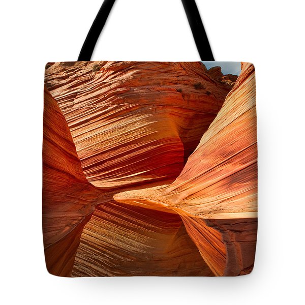 Tote Bag featuring the photograph The Wave With Reflection by Jerry Fornarotto