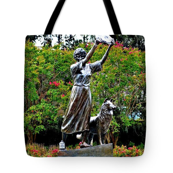 The Waving Girl Of Savannah Tote Bag by Tara Potts