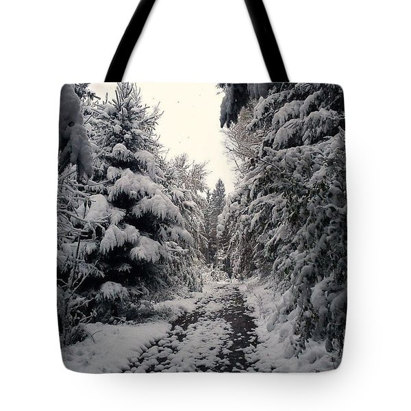 Tote Bag featuring the photograph The Way In Snow by Felicia Tica