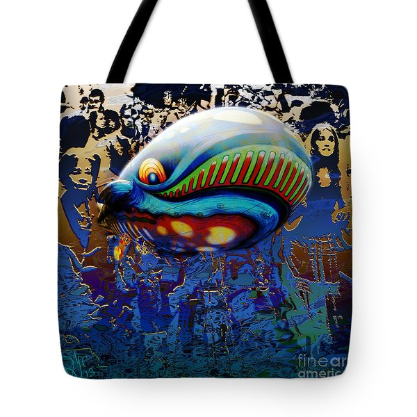 Tote Bag featuring the digital art The Whale Flight by Rosa Cobos