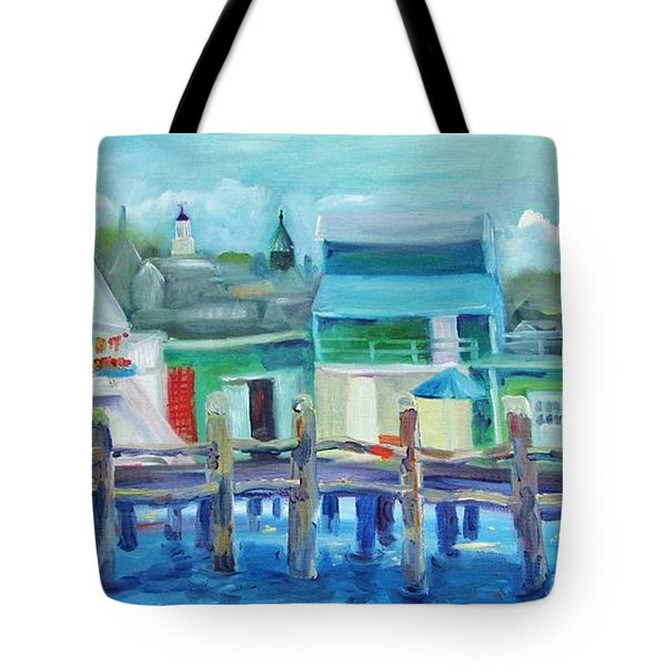The Wharf In August Tote Bag by Maria Milazzo