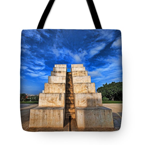 Tote Bag featuring the photograph The White City by Ron Shoshani